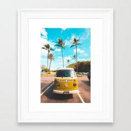 Classic V W Bus at Beach Framed Art Print