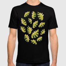 Pretty Clawed Green Leaf Pattern Mens Fitted Tee Black MEDIUM