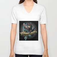 gore V-neck T-shirts featuring Chesire cat gore by trevacristina