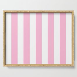 Cotton candy pink - solid color - white vertical lines pattern Serving Tray