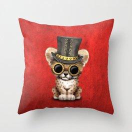 Steampunk Baby Cheetah Cub Throw Pillow