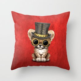 Steampunk Baby Cheetah Cub Throw Pillow