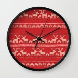 RED CHRISTMAS DEERS Wall Clock