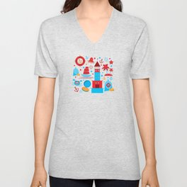 pattern with sea icons on white background. Seamless pattern. Red and blue Unisex V-Neck