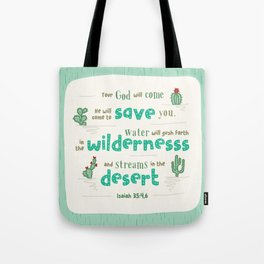 """Streams in the Desert"" Hand-Lettered Bible Verse Tote Bag"
