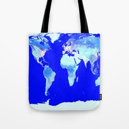 world MAP Blue Turquoise Aqua Tote Bag