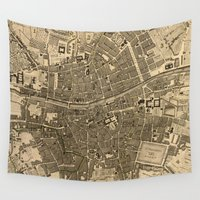 dublin Wall Tapestries featuring Vintage Map of Dublin Ireland (1797) by BravuraMedia