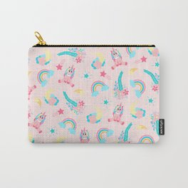 Cute Pink Teal Unicorn Rainbow Floral Stars Carry-All Pouch