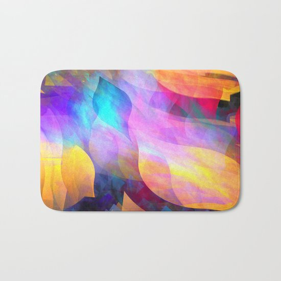 Colourful abstract with leaf shapes Bath Mat