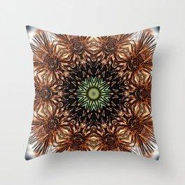 Nature mandala - Autumn coneflower seedhead Throw Pillow