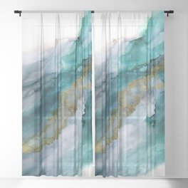 Wild Rush - abstract ocean theme in teal gray gold, marble pattern Sheer Curtain