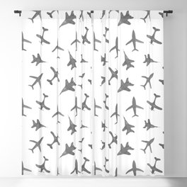 Grey airplanes - watercolor travel planes Blackout Curtain