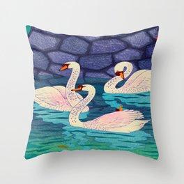 Spring At The Moat Kasamatsu Shiro Japanese Woodblock Painting Asian Beautiful Ink Cultural Historic Throw Pillow