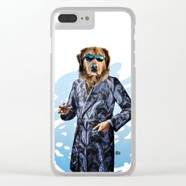 Smoking Dog Pepe Psyche Clear iPhone Case