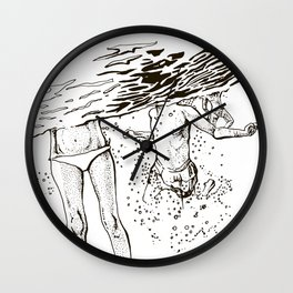 Swimming into the sea Wall Clock