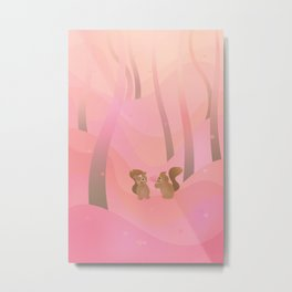 Be My Valentine (Cartoon Squirrels, Coral Pink Spring Forest) Metal Print