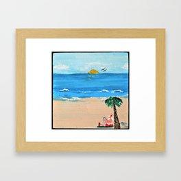 Santa Vacationing in Florida Framed Art Print