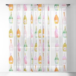 Champagne Bottles Watercolor Sheer Curtain