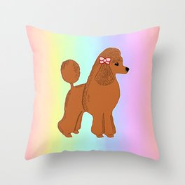 Red Poodle with Pastel Rainbow Throw Pillow