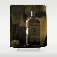 whisky Shower Curtains featuring Ballantines Finest Scotch Whisky by AliceArtDotCom