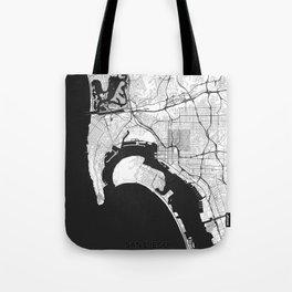 San Diego Map Gray Tote Bag
