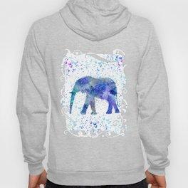 Blue Watercolor Elephant Hoody
