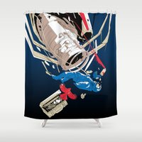 gravity Shower Curtains featuring gravity by wonman kim