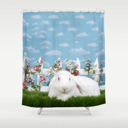 White lop eared bunny in a flower garden Shower Curtain