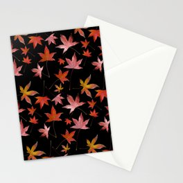 Dead Leaves over Black Stationery Cards