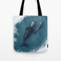 whales Tote Bags featuring whales by Daniela Di Gennaro