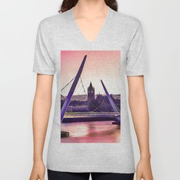 Derry / Londonderry Peace Bridge. (Painting.) Unisex V-Neck