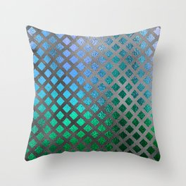 Trendy Blues, Aquas, and Green Mermaid Pattern Throw Pillow