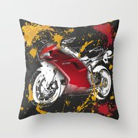 ducati Throw Pillows featuring Ducati 1098 2008 by Larsson Stevensem