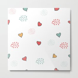 Cute Hearts Background. Seamless Pattern with hearts Metal Print