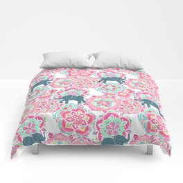 Tiny Elephants in Fields of Flowers Comforters