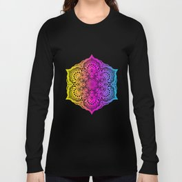 Colorful abstract ethnic floral mandala pattern design Long Sleeve T-shirt