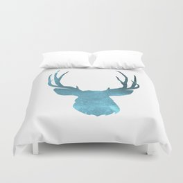 Deer head and stag simple illustration Duvet Cover