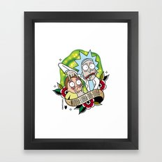 Traditional Rick and Morty  Framed Art Print