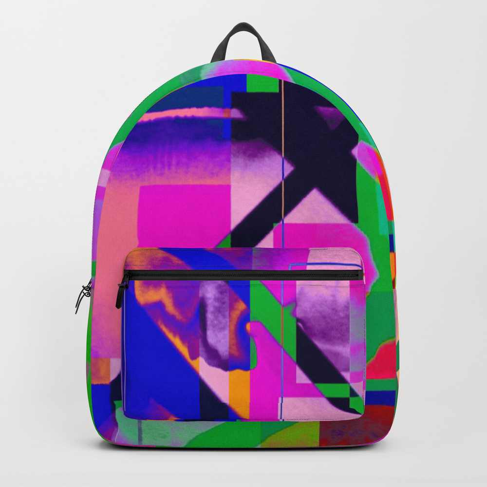 """""the X"""" Abstract- Vibrant Multi-color Design Backpack by Artaddiction45"" BKP7624579"