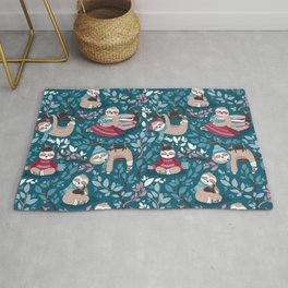 Hygge sloth // turquoise and red Rug