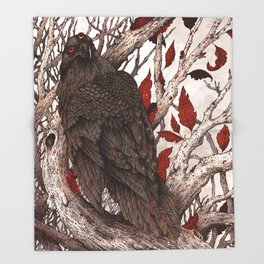 A Raven In Winter Throw Blanket