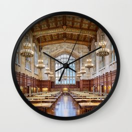 Antique gothic library hall with baroque chandeliers library room aesthetic goals Wall Clock