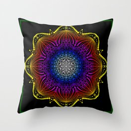 Gypsy Carnival Lights Mandala Throw Pillow