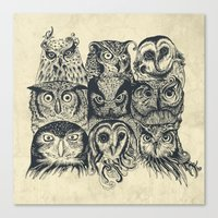 band Canvas Prints featuring Nine Owls by Rachel Caldwell