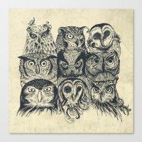 owls Canvas Prints featuring Nine Owls by Rachel Caldwell
