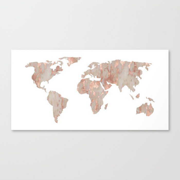 world map marble rose gold shimmer canvas print