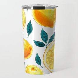 Golden lemons pattern in watercolor Travel Mug