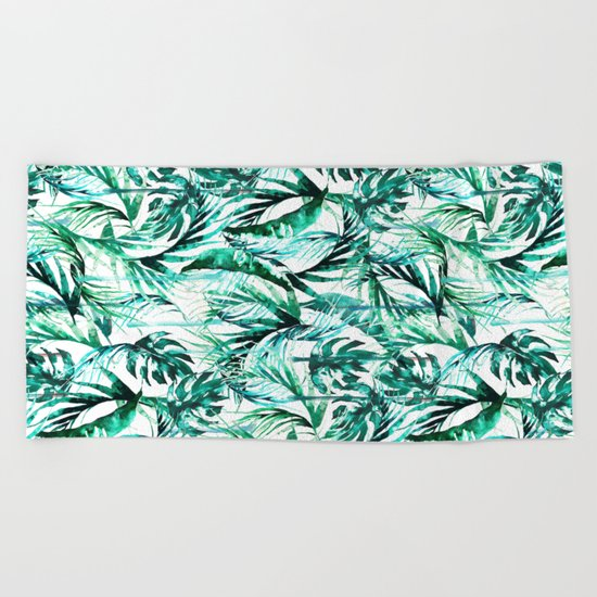 Green Tropical paradise  Beach Towel