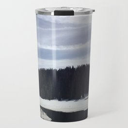 Frozen Lake and Forest in Sequoia and Kings Canyon National Park Travel Mug