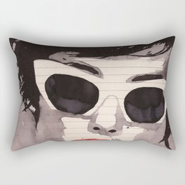 Cleverly - Feminine portrait ink drawing Rectangular Pillow